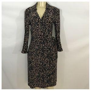 Anne Klein Black and Tan Wrap Midi Dress